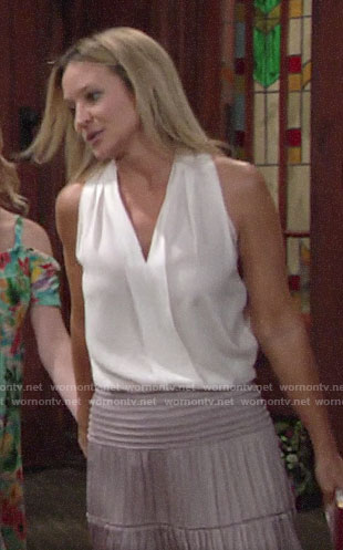 Sharon's white v-neck top and maxi skirt on The Young and the Restless