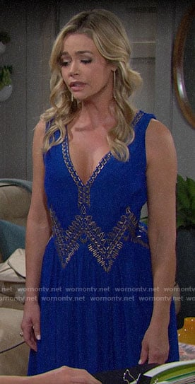 Shauna's blue studded dress on The Bold and the Beautiful