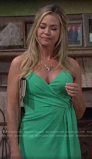 Shauna's green wrap dress on The Bold and the Beautiful