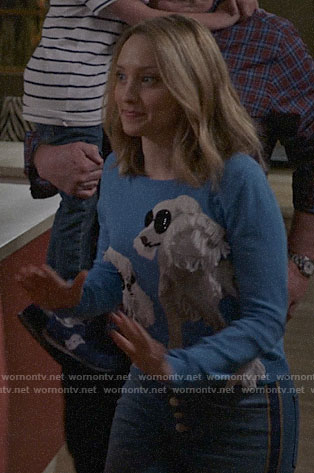 Sherry's blue poodle sweater on Modern Family