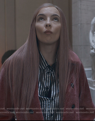 Villanelle's metallic stripe blouse on Killing Eve