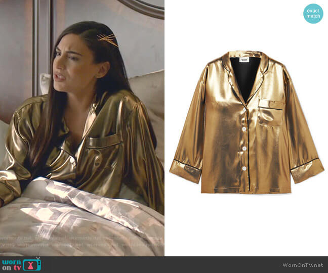 Marina Shirt by Sleepy Jones worn by Cristal Jennings (Daniella Alonso) on Dynasty