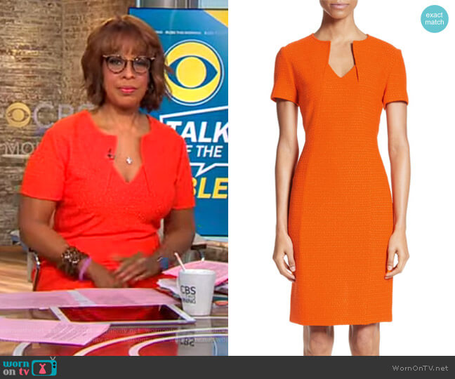 Ribbon Texture Knit Dress by St. John Collection worn by Gayle King  on CBS This Morning