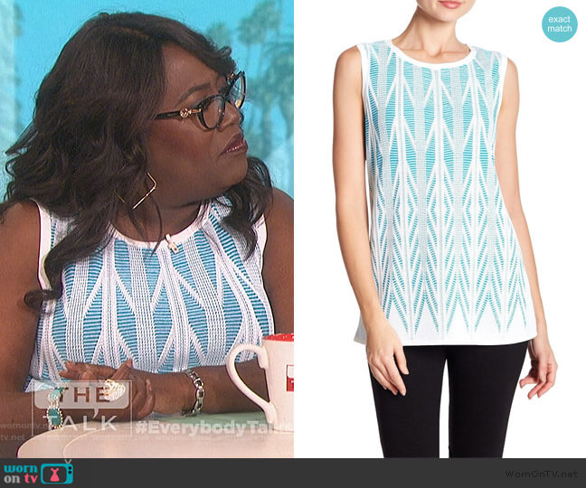 Ziri Sleeveless Top by St. John worn by Sheryl Underwood (Sheryl Underwood) on The Talk