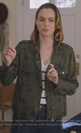 Angie's khaki star print jacket on Single Parents