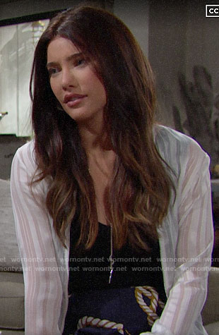 Steffy's white striped jacket and rope print shorts on The Bold and the Beautiful