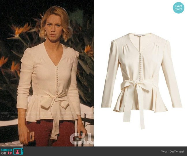 Stella McCartney V-neck bow-front top worn by Petra Solano (Yael Grobglas) on Jane the Virgin