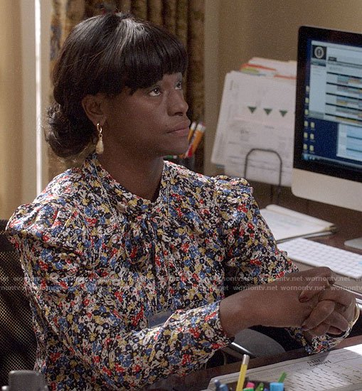 Sue's floral tie neck blouse on Veep
