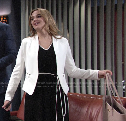 Summer's black jumpsuit and white blazer on The Young and the Restless