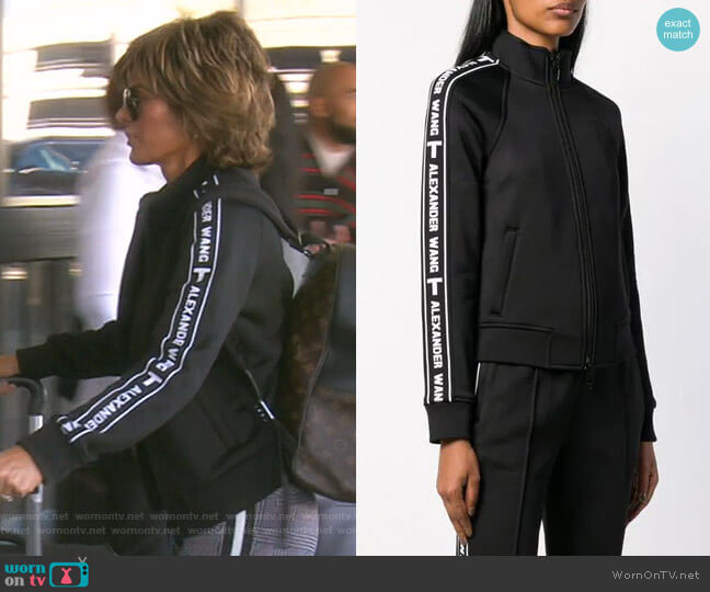 Logo Stripe Sports Jacket by T by Alexander Wang worn by Lisa Rinna  on The Real Housewives of Beverly Hills