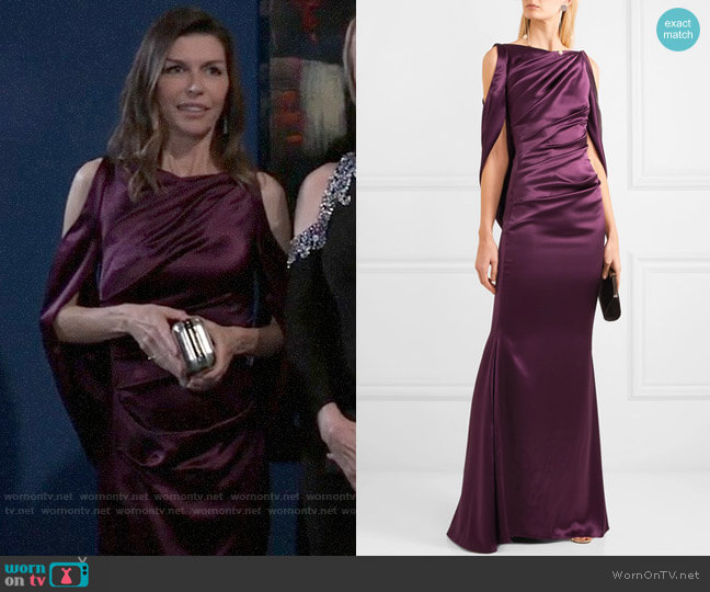 Talbot Runhof Cold-shoulder cape-effect ruched satin gown worn by Anna Devane (Finola Hughes) on General Hospital