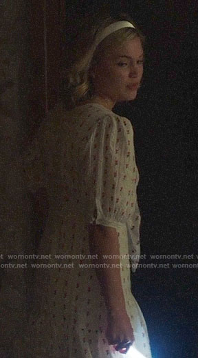 Tandy's white flower embroidered dress with bow on Cloak and Dagger