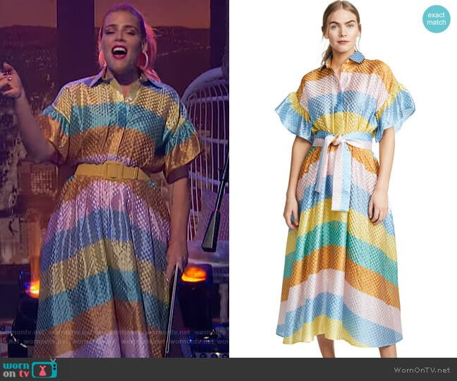 Rainbow Shirtdress by Tata Naka worn by Busy Philipps (Busy Philipps) on Busy Tonight