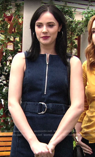 Tessa's denim belted dress on The Young and the Restless