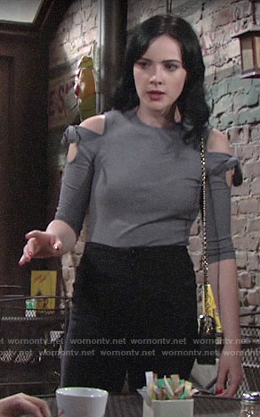 Tessa's grey tie shoulder top on The Young and the Restless