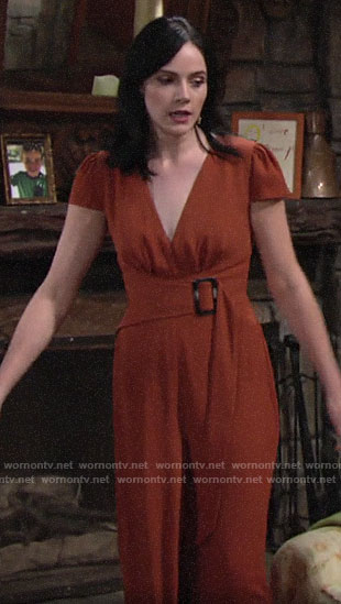 Tessa's orange belted jumpsuit on The Young and the Restless