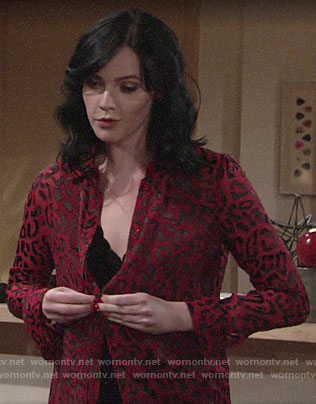 Tessa's sheer red leopard blouse and black bralette on The Young and the Restless