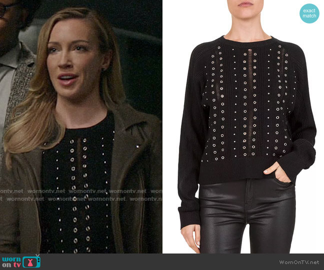 The Kooples Studded & Grommeted Sweater worn by Laurel Lance (Katie Cassidy) on Arrow