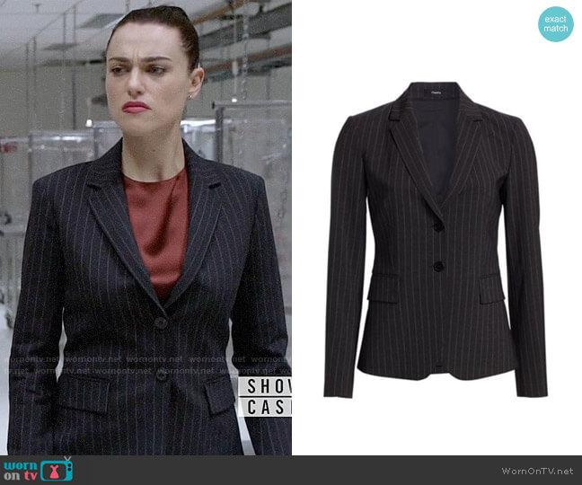Theory Carissa Pinstripe Blazer worn by Lena Luthor (Katie McGrath) on Supergirl