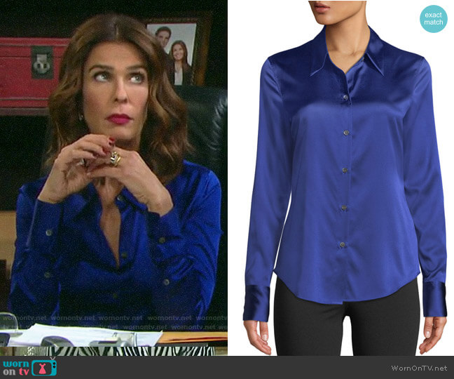 Theory Perfect Fitted Stretch-Satin Blouse worn by Hope Williams (Kristian Alfonso) on Days of our Lives