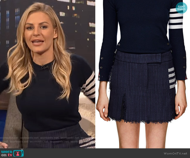 Striped Tweed Miniskirt by Thom Browne worn by Morgan Stewart  on E! News