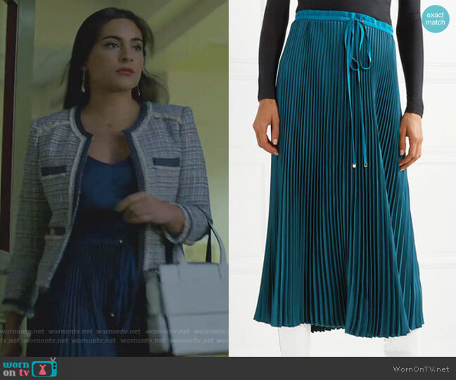 Mendini Pleated Twill Midi Skirt by Tibi worn by Cristal Jennings (Ana Brenda Contreras) on Dynasty