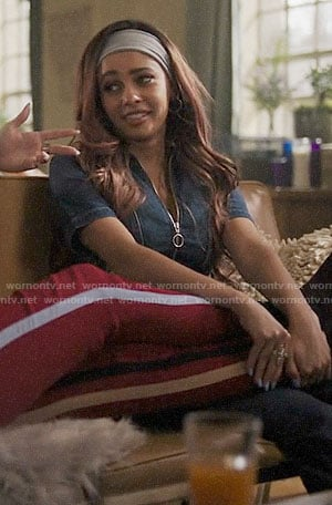 Toni's denim zip-front jumpsuit on Riverdale