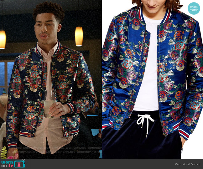 Topman Chandler Bomber Jacket worn by Andre Johnson Jr (Marcus Scribner) on Blackish