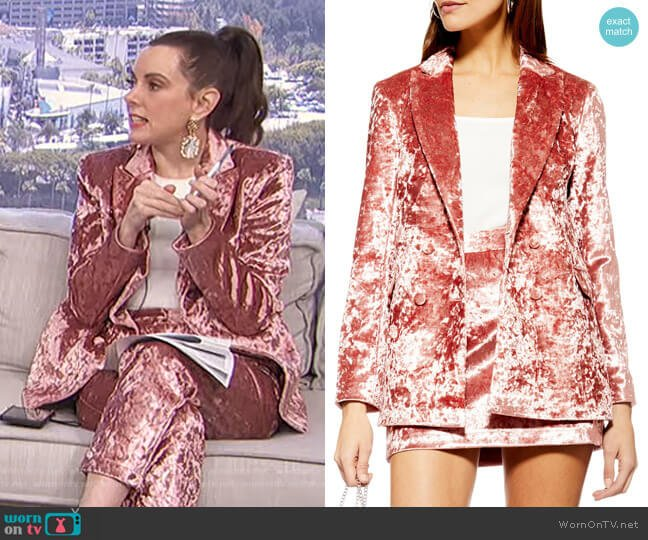 Bonded Velvet Jacket by Topshop worn by Melanie Bromley  on E! News