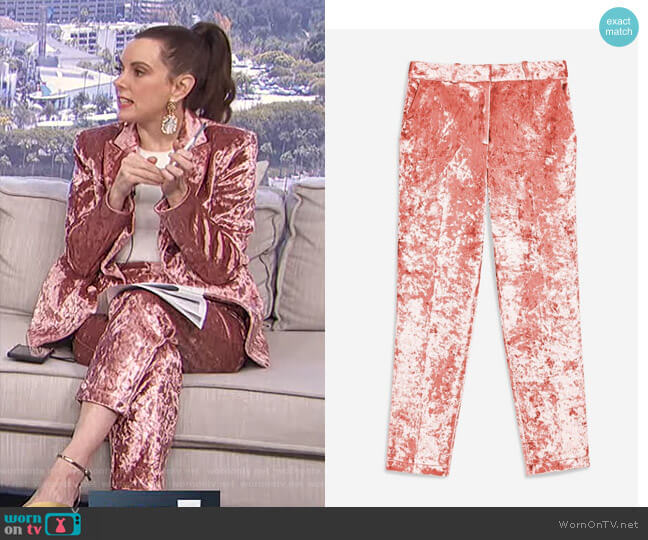 Bonded Velvet Trousers by Topshop worn by Melanie Bromley  on E! News