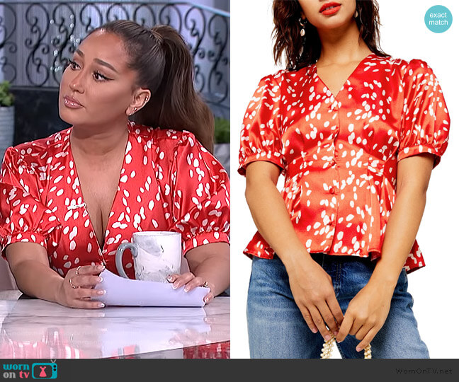 Dalmation Pleat V-Neck Satin Blouse by Topshop worn by Adrienne Houghton  on The Real