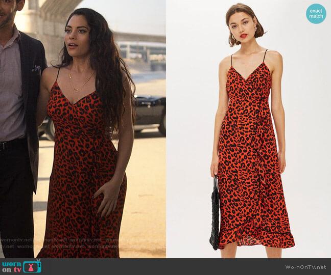 Topshop Leopard Print Ruffle Slip Dress worn by Eve (Inbar Lavi) on Lucifer
