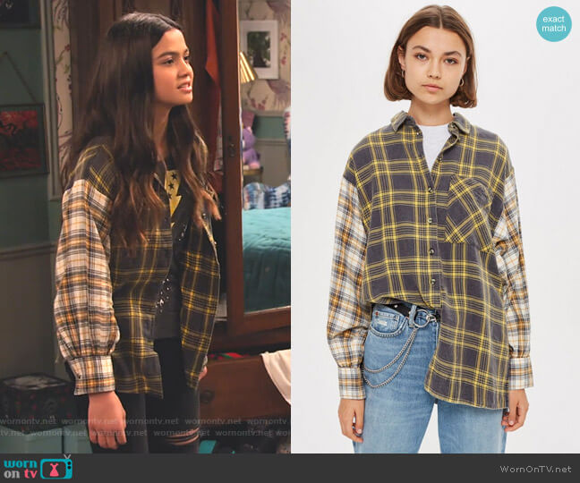 Mixed Check Oversized Shirt by Topshop worn by Nick (Siena Agudong) on No Good Nick