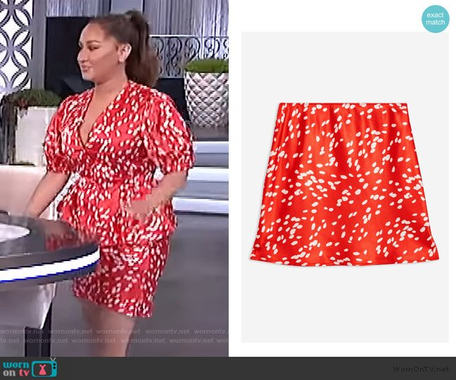 Red Spot Satin Bias Mini Skirt by Topshop worn by Adrienne Houghton  on The Real