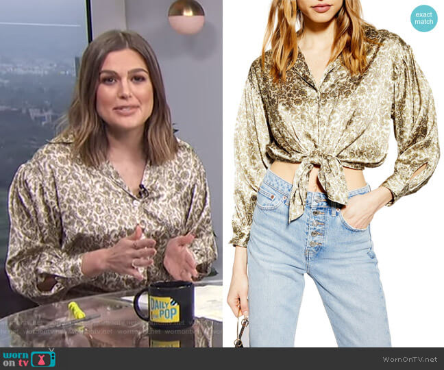 Tie Hem Paisley Satin Shirt by Topshop worn by Carissa Loethen Culiner  on E! News