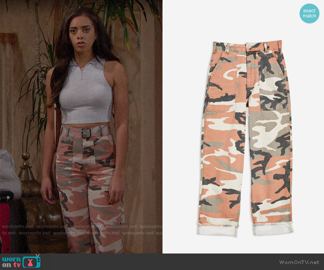 Topshop Clay Camouflage Trousers worn by Zoe (Kiara Barnes) on The Bold & the Beautiful