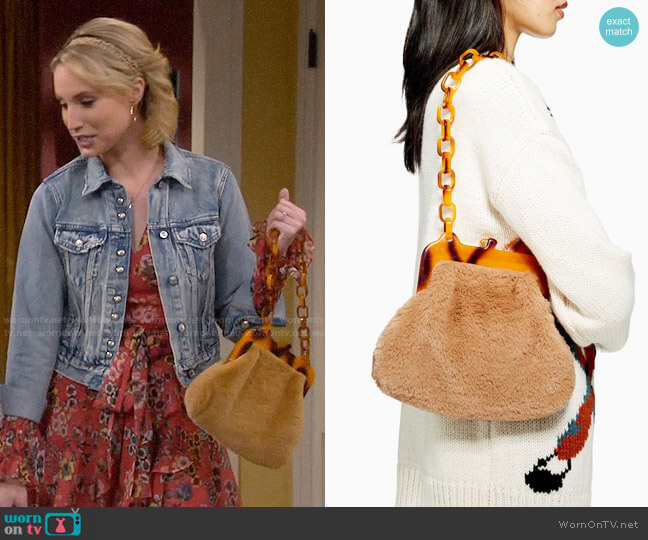 Topshop Faux Fur Frame Tortoiseshell Shoulder Bag worn by Mandy Baxter (Molly McCook) on Last Man Standing