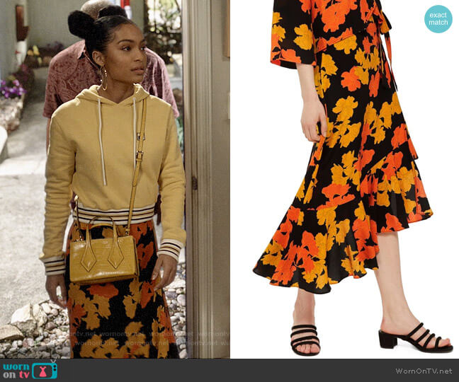Topshop Linear Floral Midi Skirt worn by Zoey Johnson (Yara Shahidi) on Blackish
