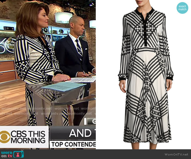 Anja Dress by Tory Burch worn by Norah O'Donnell  on CBS This Morning