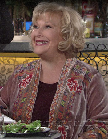 Traci's floral embroidered velvet cardigan on The Young and the Restless