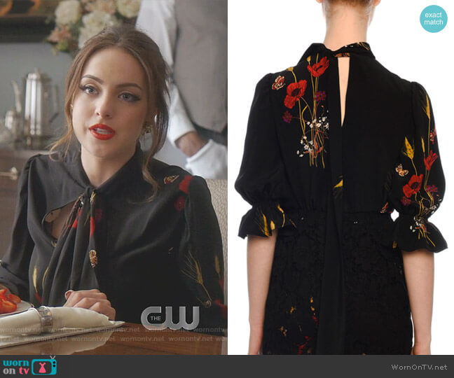 Short-Sleeve Puff-Shoulder Floral-Print Blouse by Valentino worn by Fallon Carrington (Elizabeth Gillies) on Dynasty