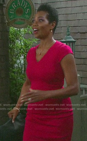 Valerie's pink v-neck sheath dress on Days of our Lives
