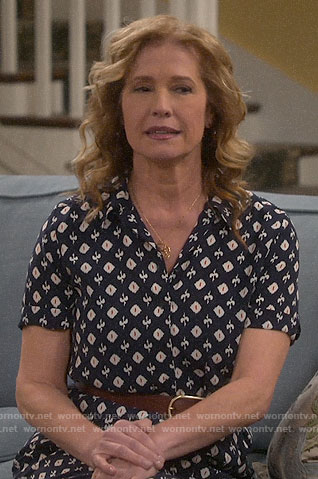 Vanessa's navy ikat print shirtdress on Last Man Standing