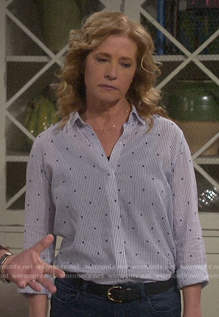 Vanessa's striped star and moon shirt on Last Man Standing