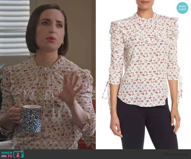 Howell Floral Ruched Sleeve Silk Blouse by Veronica Beard worn by Jennifer Short (Zoe Lister-Jones) on Life in Pieces