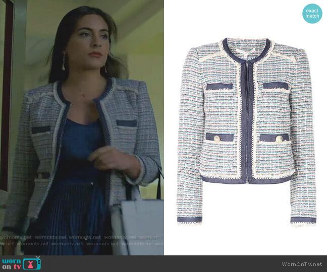 Bouclé Tweed Jacket by Veronica Beard worn by Cristal Jennings (Daniella Alonso) on Dynasty