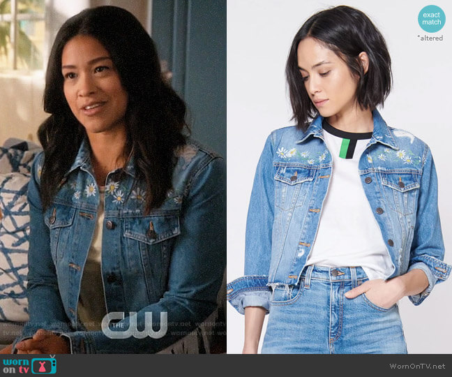 Veronica Beard x Kate Schelter Cara Jean Jacket worn by Jane Villanueva (Gina Rodriguez) on Jane the Virgin