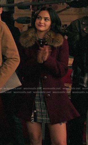 Veronica's purple fur-collar coat on Riverdale