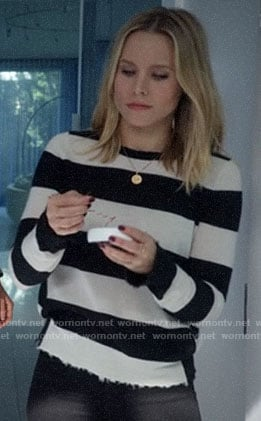 Veronica's striped sweater with frayed trim on Veronica Mars