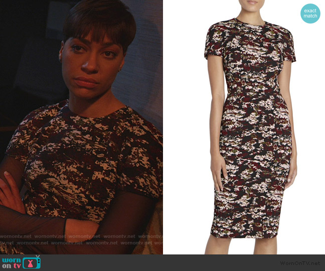 Camo Print Cap Sleeve Sheath Dress by Victoria Beckham worn by Lucca Quinn (Cush Jumbo) on The Good Fight